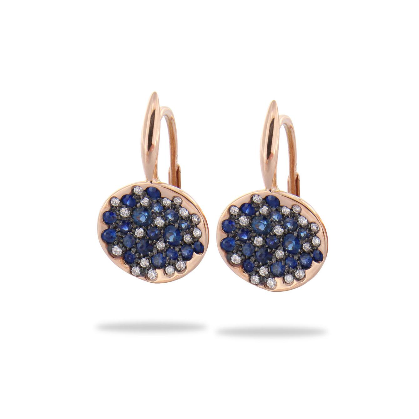 Boucles d'oreilles Brusi Spring saphirs et diamants sur or rose