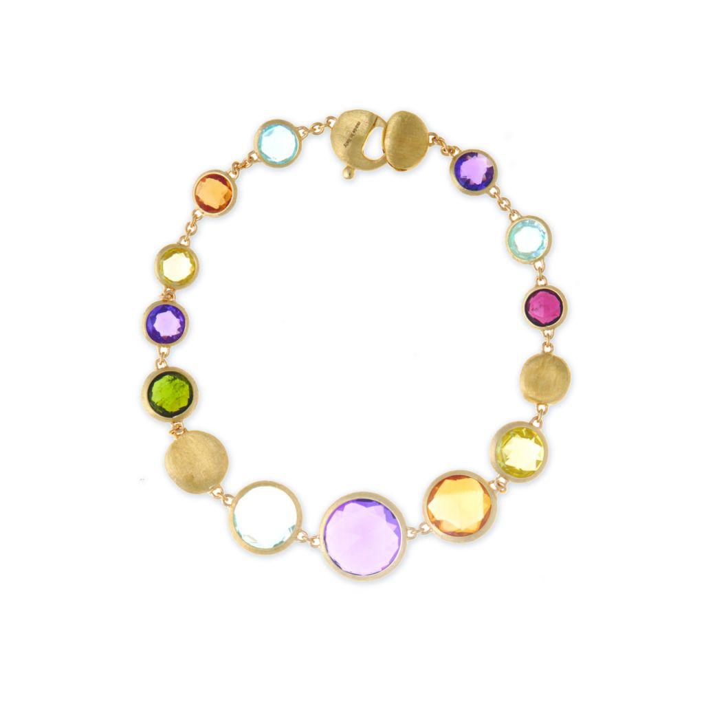 Bracelet Marco Bicego Jaipur en or jaune guilloché et pierres fines de couleur