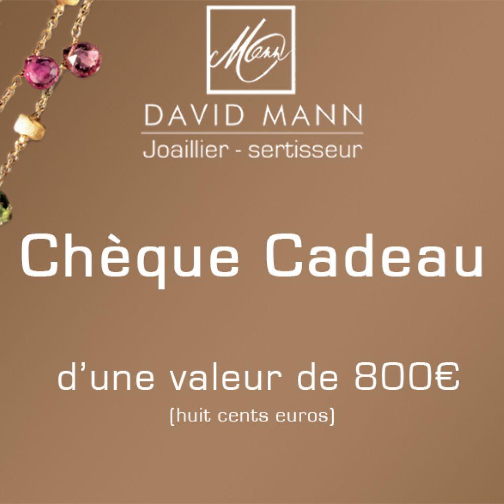Chèque cadeau Bijouterie David Mann exemple
