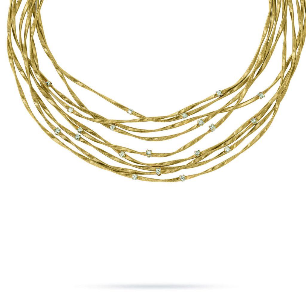 Collier 9 rangs Marco Bicego Marrakech en or jaune torsadé et diamants