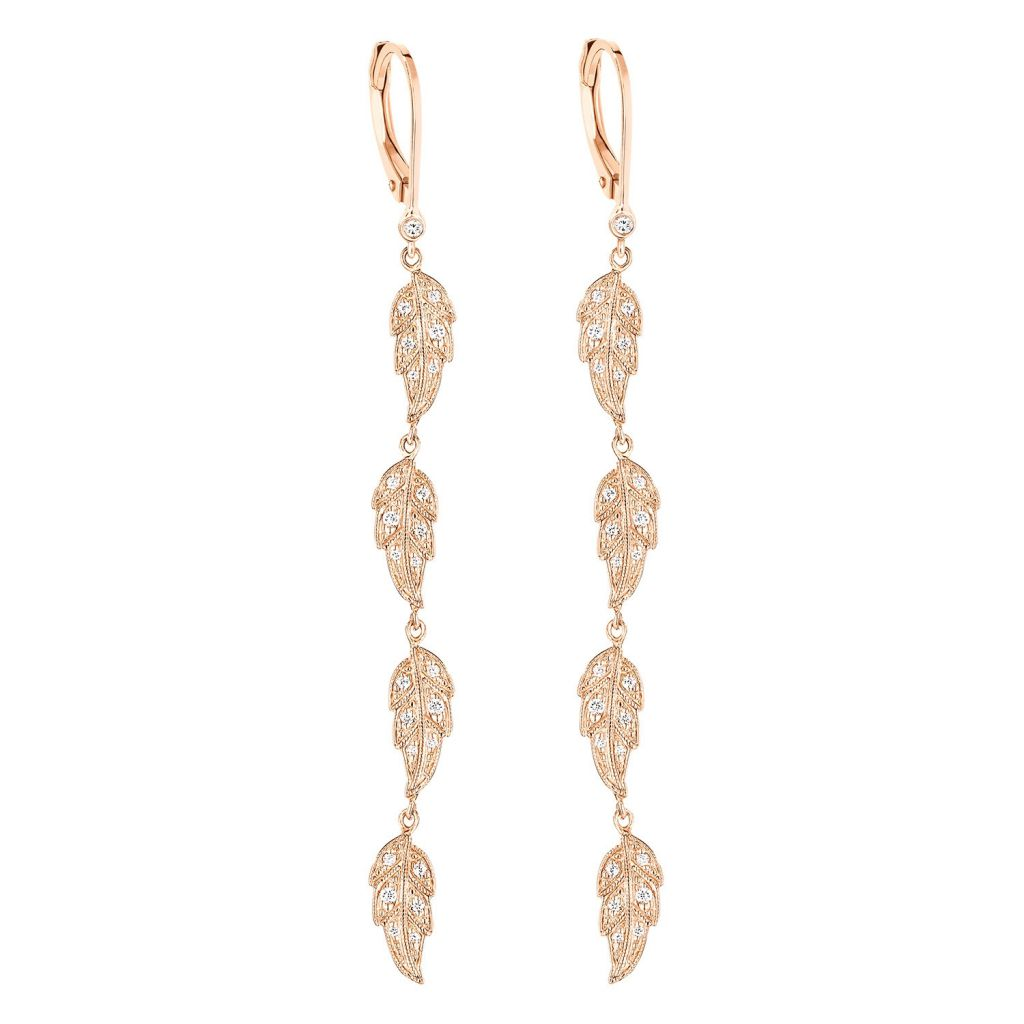 Boucles d'oreilles pendantes Stone Paris Tree of Life en or rose et diamants