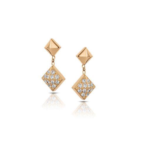 Boucles d'oreilles Hulchi Belluni Cubini en or rose avec losanges pavés de diamants