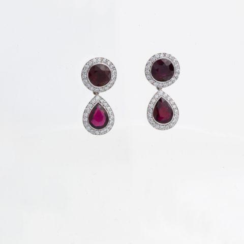 boucles d'oreilles création david mann or blanc diamants rubis