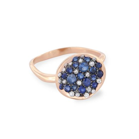bague brusi or rose diamants pierres bleues