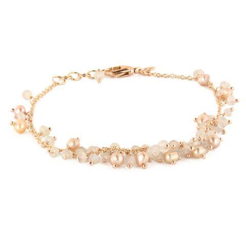 Bracelet Brusi Fringe calcédoine blanche perles et or rose