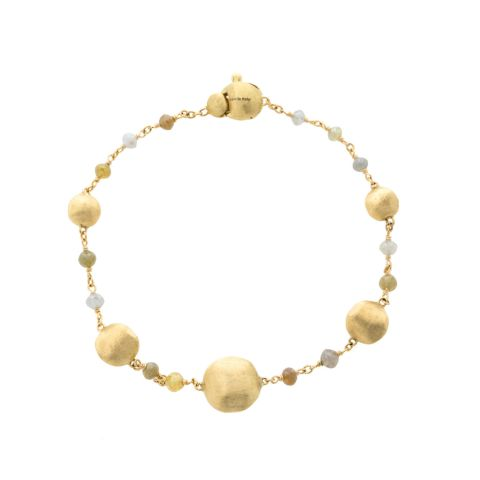 Bracelet Marco Bicego Africa en or jaune guilloché et diamants multicolores
