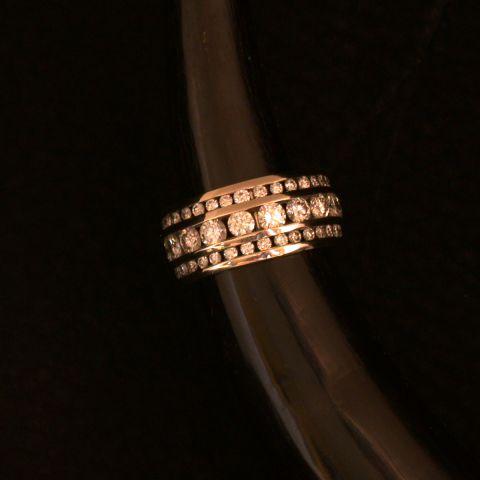 bague création david mann trois rangs diamants or blanc