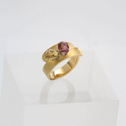 bague création david mann or jaune 2 pierres jaune rose