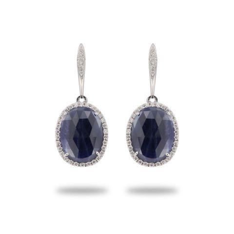 boucles d'oreilles brusi or blanc diamants saphirs bleus