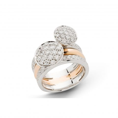 Triple bague Hulchi Belluni Funghetti or blanc et or rose, pavés de diamants