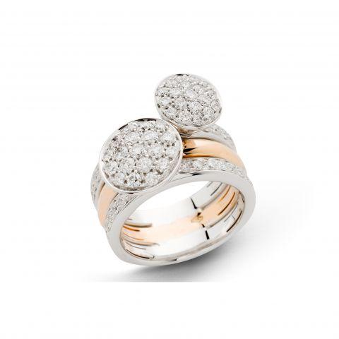 Triple bague Hulchi Belluni Funghetti or blanc et or rose, pavés de diamants