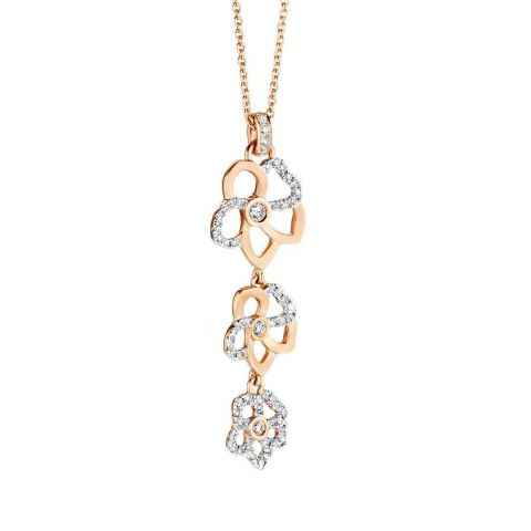 Triple pendentif fleur Hulchi Belluni Monoï en or rose et diamants