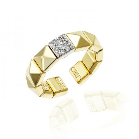 Bague Chimento Armillas Pyramis en or jaune et diamants
