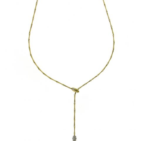 Collier Chimento Bamboo réglable en or jaune et diamants