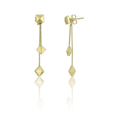 Boucles d'oreilles double pendantes Chimento Armillas Pyramis en or jaune