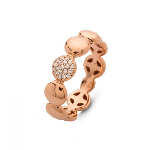 Bague Hulchi Belluni ronds d'or rose et 1 pavé de diamants
