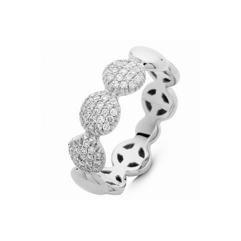 Bague Hulchi Belluni ronds d'or blanc et 3 pavés de diamants