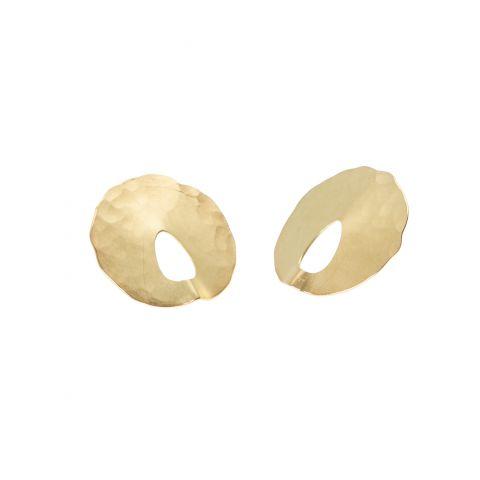 Boucles d'oreilles Georges Cuyvers or jaune martelé effet mat