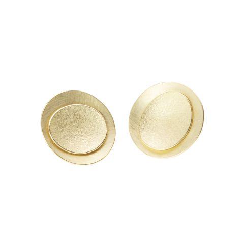 Boucles d'oreilles Georges Cuyvers doubles pastilles d'or jaune