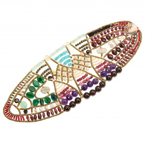 Bracelet large ZIIO en perles Murano, pierres fines et argent. Améthyste, corail, rubis, grenat, pyrite, turquoise, chrysoprase et perles d'eau douce