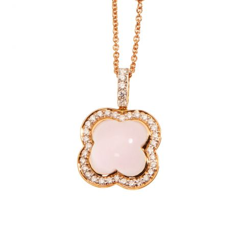 Pendentif Hulchi Belluni Quadrifoglio quartz rose entourage, diamants et or rose, détail