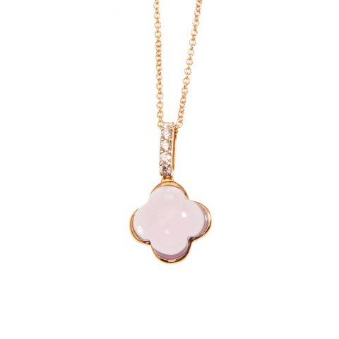 Pendentif Hulchi Belluni Quadrifoglio améthyste, diamants et or rose, détail