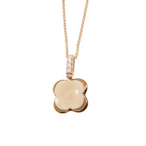 Pendentif Hulchi Belluni Quadrifoglio quartz brun, diamants et or rose, détail