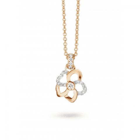 Pendentif Hulchi Belluni Fleur de Monoï en or rose et diamants, détail