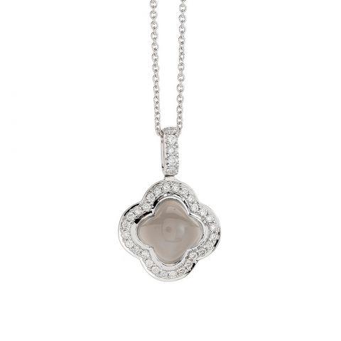 Pendentif Hulchi Belluni Quadrifoglio prierre de lune grise entourage diamants sur or blanc, détail