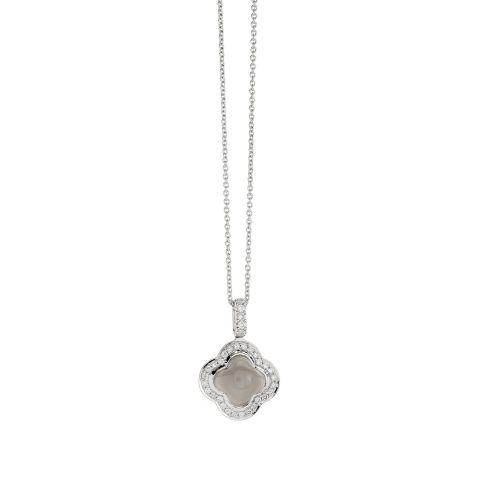 Pendentif Hulchi Belluni Quadrifoglio prierre de lune grise entourage diamants sur or blanc