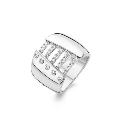 Bague Hulchi Belluni Corsage or blanc et liens pavés de diamants