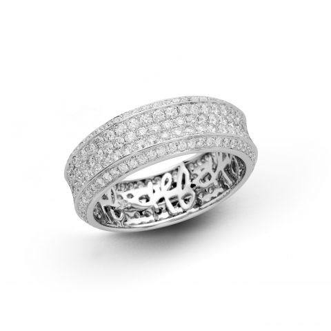 Large bague Hulchi Belluni en or blanc pavée de diamants