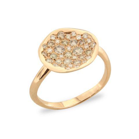 Bague Brusi Spring or rose pavé de diamants bruns et blancs