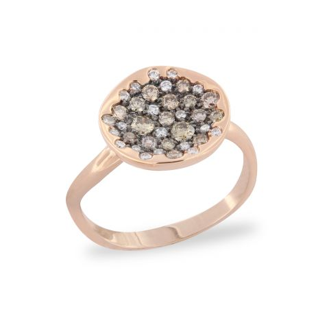 Bague Brusi Spring or rose pavé de diamants bruns et blancs