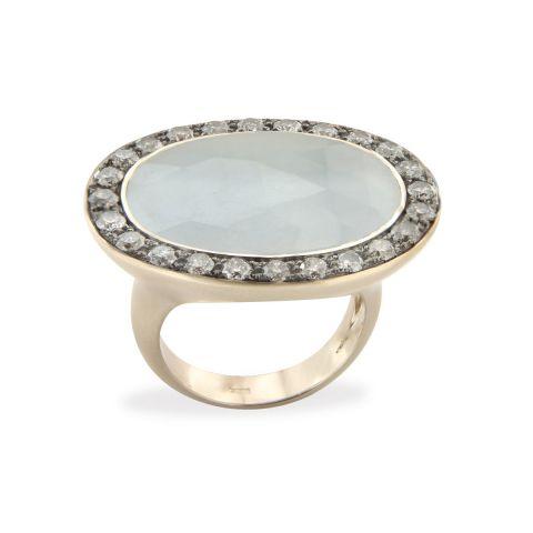 Bague Brusi Indjo saphir gris clair, entourage diamants gris sur or rose
