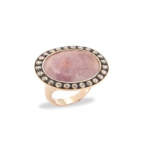 Bague Brusi saphir rosé entourage diamants sur or rose