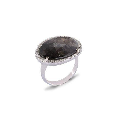 Bague Brusi Indjo saphir gris entourage diamants sur or blanc