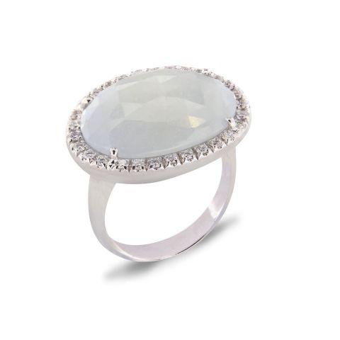 Bague Brusi Saffron saphir blanc glacé entourage diamants blancs sur or blanc