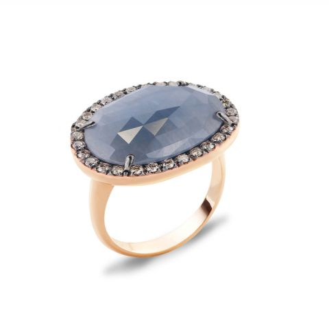 Bague Brusi Indjo saphir bleu et entourage diamants sur or rose