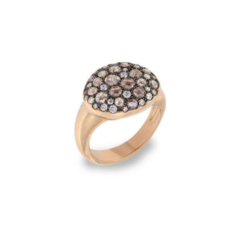 Bague Brusi Cannella Pave en or rose et pavé de diamants blancs et diamants bruns