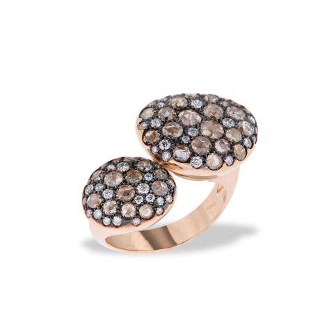 Bague Brusi double pavé de diamants bruns taille rose et diamants blancs, corps de bague en or rose, disponible à la bijouterie à Liège