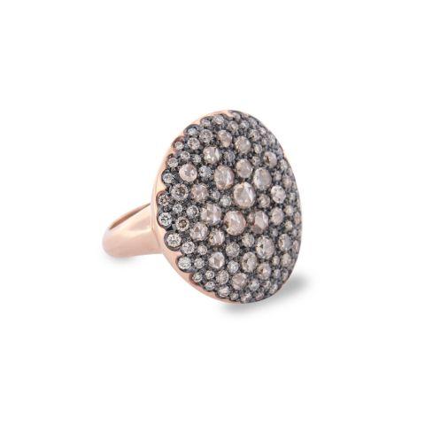 Bague Brusi grand pavé de diamants bruns en or rose