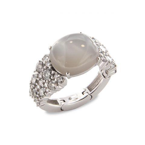 Bague Brusi Brightfall pierre de lune grise, diamants gris et diamants disponible à la bijouterie à Liège