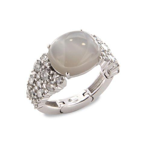 Bague Brusi Brightfall pierre de lune grise et diamants gris