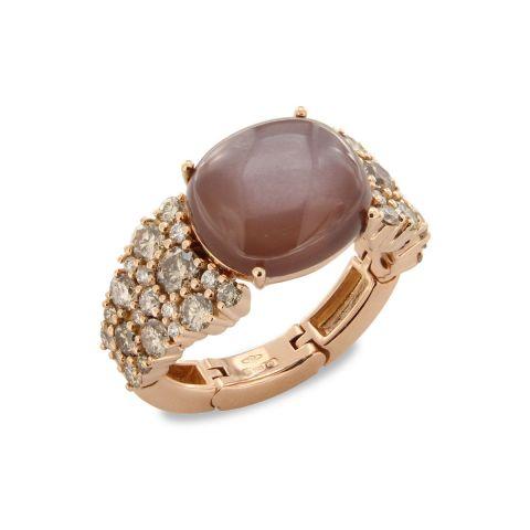Bague Brusi Brightfall pierre de lune chocolat, diamants bruns et blancs