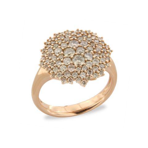 Bague Brusi Brightfall pavé étoilé de diamants bruns sur or rose