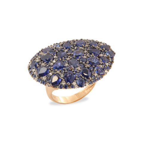 Bague grand pavé Brusi Big Misty saphirs bleus et diamants blancs