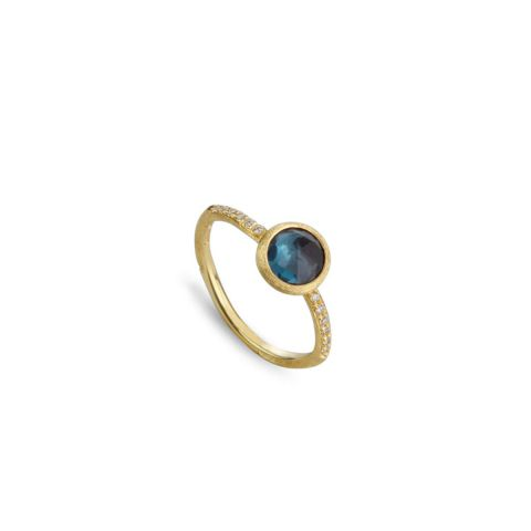 Bague Marco Bicego Jaipur or jaune guilloché et topaze Bleu London sertie de diamants