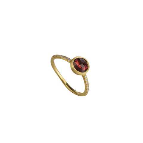 Bague Marco Bicego Jaipur or jaune guilloché et tourmaline rose sertie de diamants
