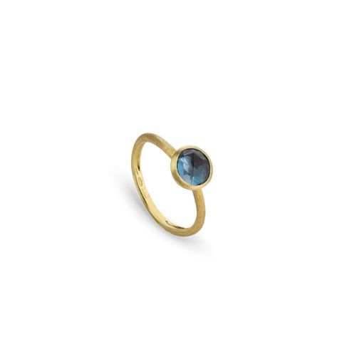Bague Marco Bicego Jaipur or jaune guilloché et topaze Bleu London